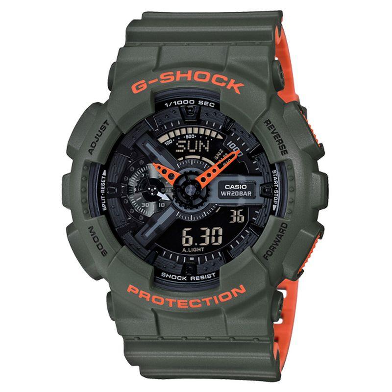 Relógio Casio Masculino G-Shock Resina Verde Anadigi Cronógrafo GA-110LN-3ADR