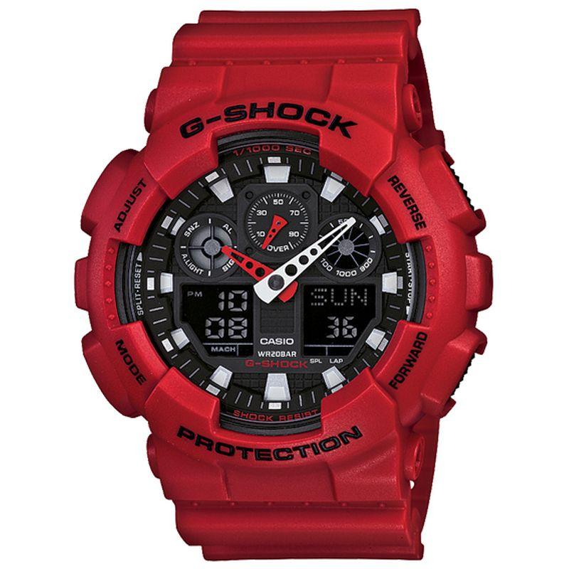 Relógio Casio Masculino G-Shock Vermelho Cronógrafo Anadigi Resina GA-100B-4ADR