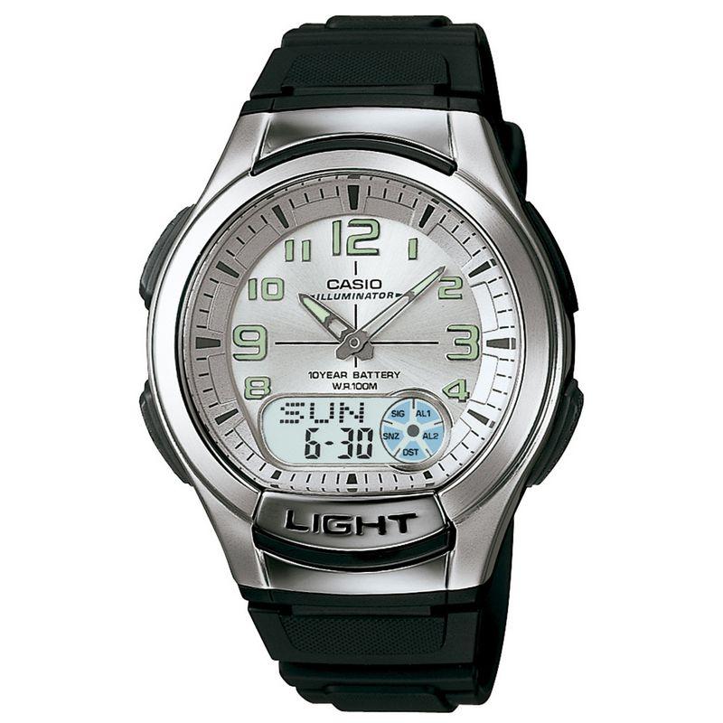 Relógio Casio Masculino Resina Verde Anadigi Illuminator Hora Mundi Cronógrafo AQ-180W-7BVDF