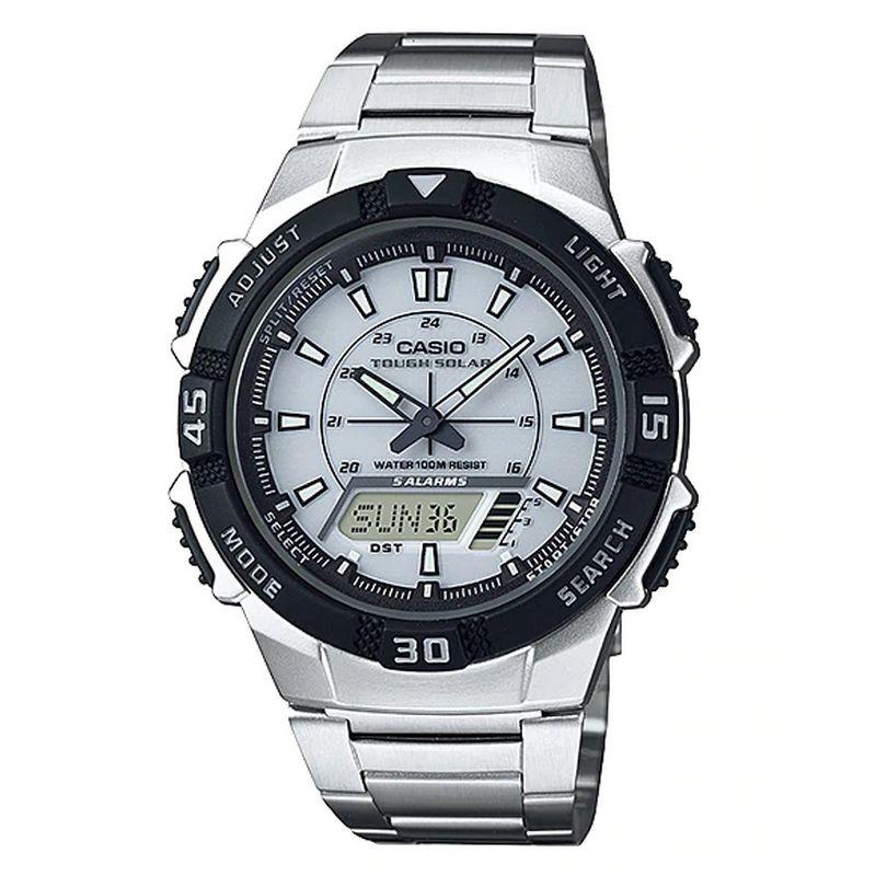 Relógio Casio Masculino Tough Solar Prata Anadigi Cronógrafo Aço Inoxidável AQ-S800WD-7EVDF