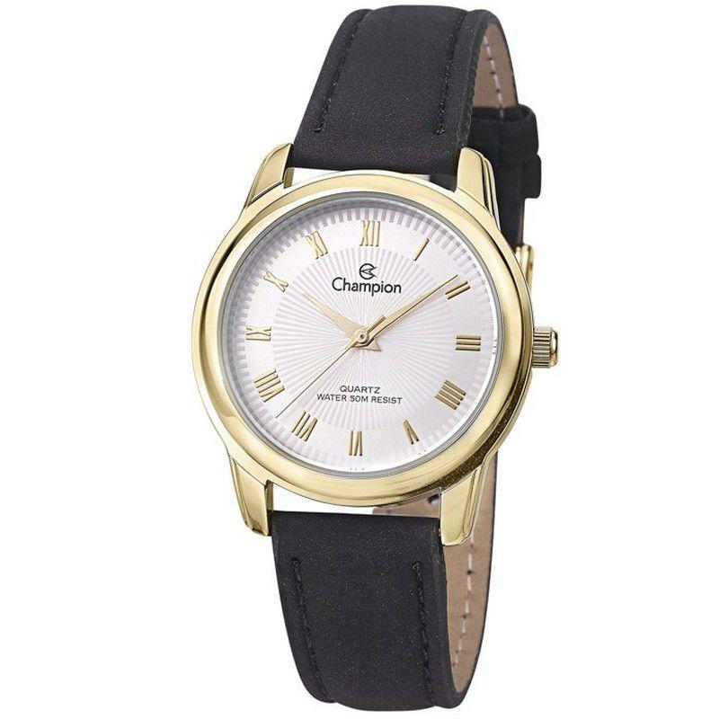 Relógio Champion Feminino Analógico Couro Preto CH24651B