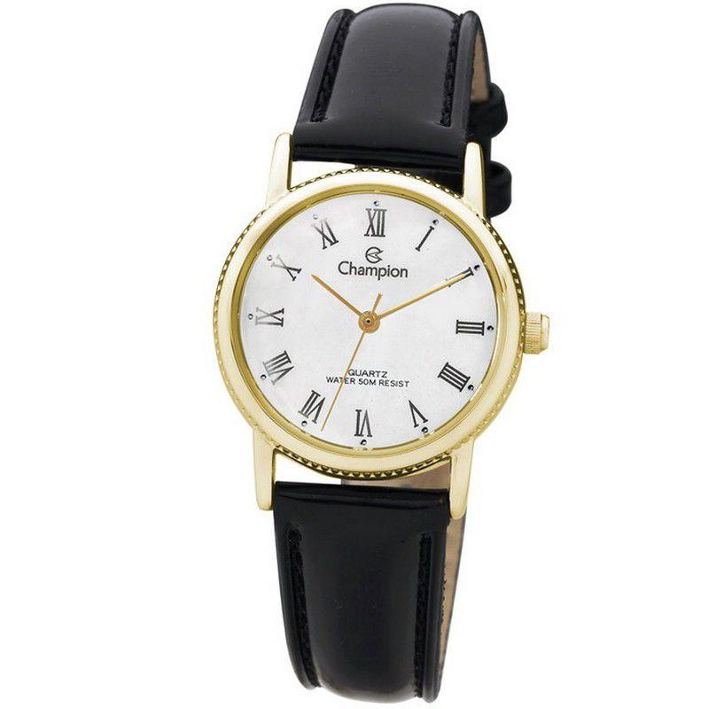 Relógio Champion Feminino Analógico Couro Preto CH25043M