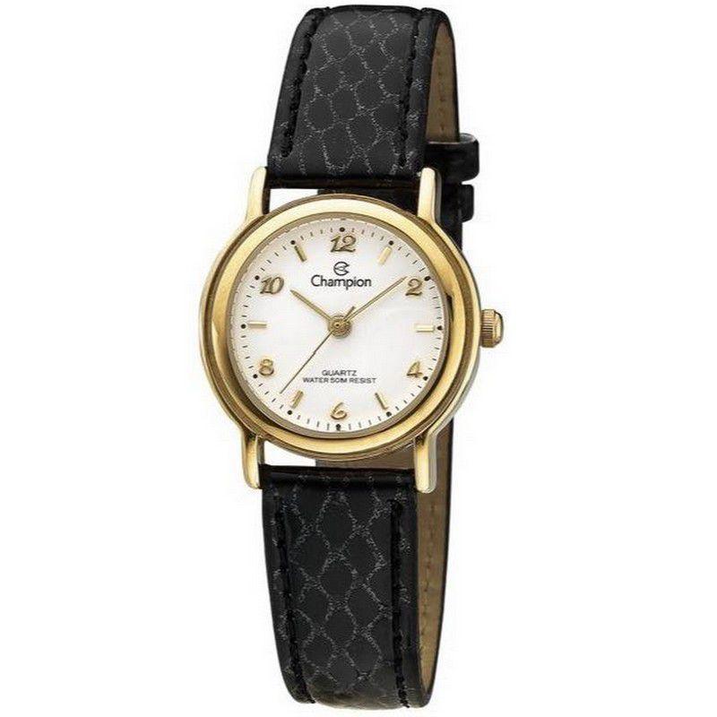 Relógio Champion Feminino Analógico Couro Preto CH25374B