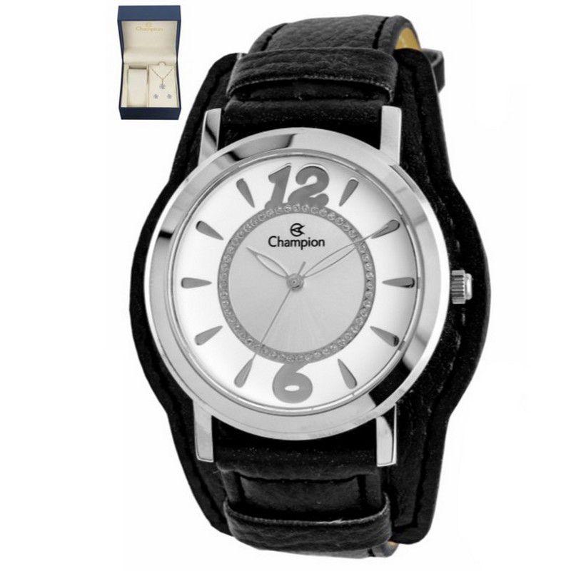 Relógio Champion Feminino Analógico Fivela Couro Preto CN20284C