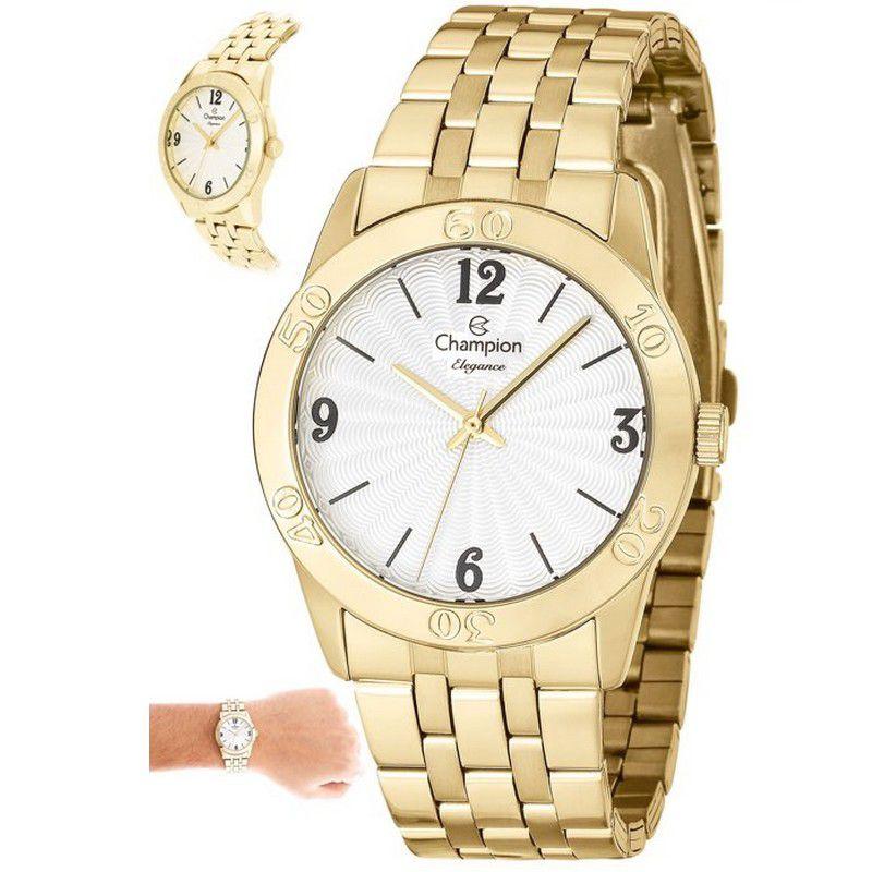 Relógio Champion Feminino Dourado Aço Analógico Elegance CN25001H