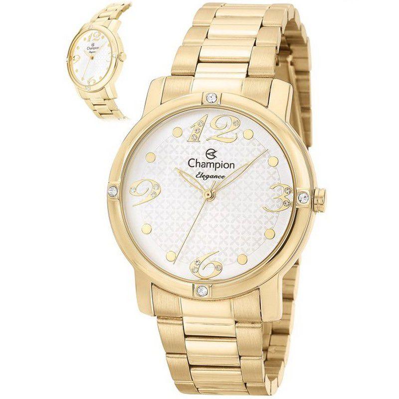 Relógio Champion Feminino Dourado Aço Analógico Elegance CN27634H