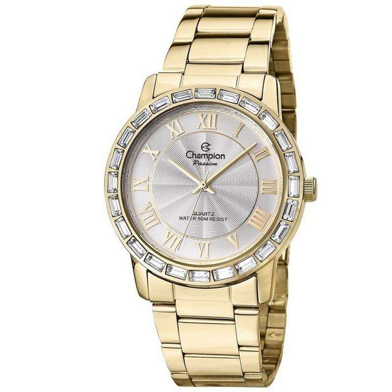 Relógio Champion Feminino Dourado Aço Analógico Passion CN28857H