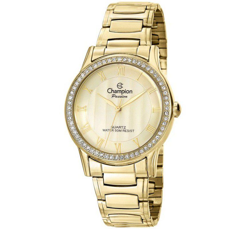 Relógio Champion Feminino Dourado Aço Analógico Passion CN29310G
