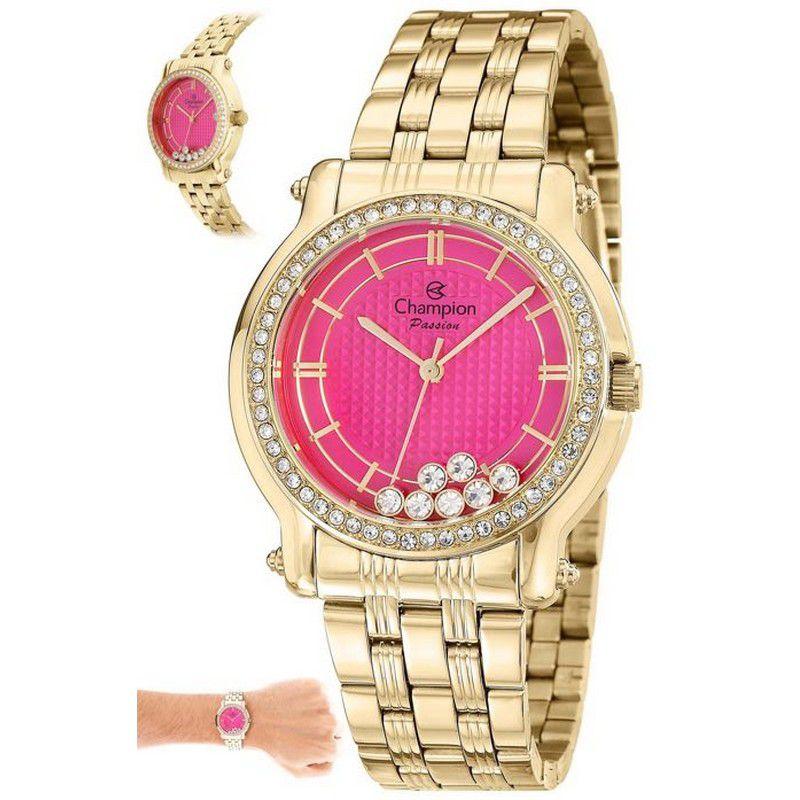 Relógio Champion Feminino Dourado Aço Analógico Passion CN29785L
