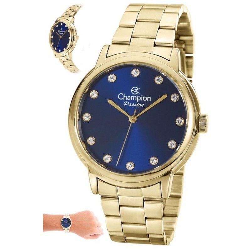 Relógio Champion Feminino Dourado Aço Analógico Passion CN29874A