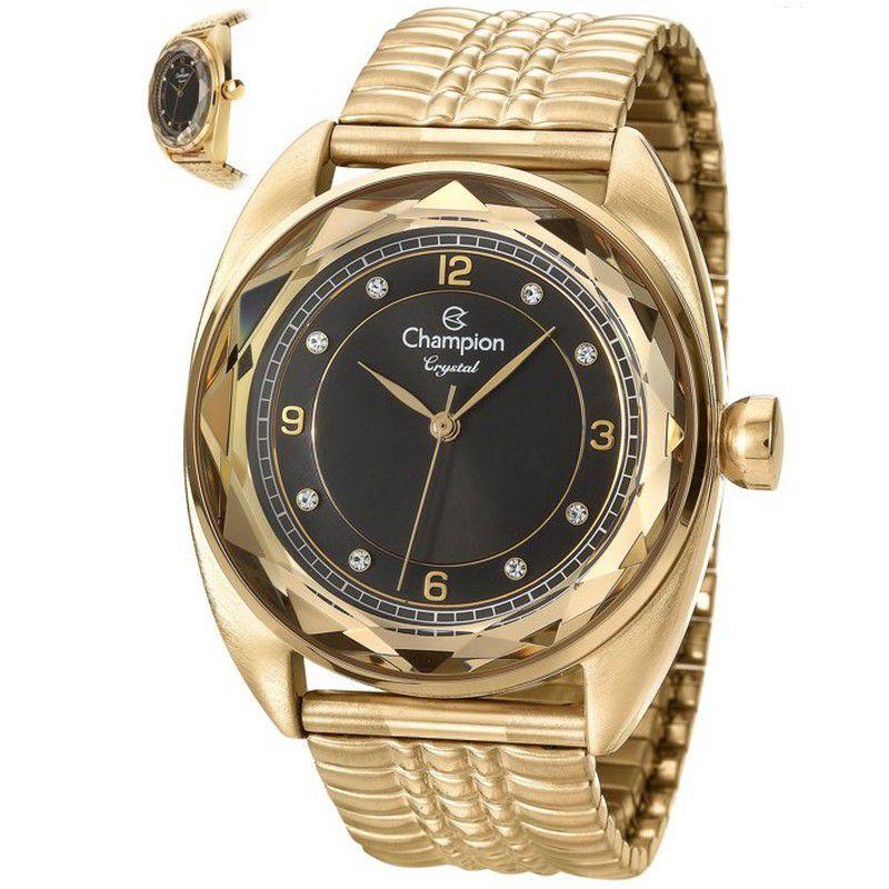 Relógio Champion Feminino Dourado Analógico Crystal CN27858U