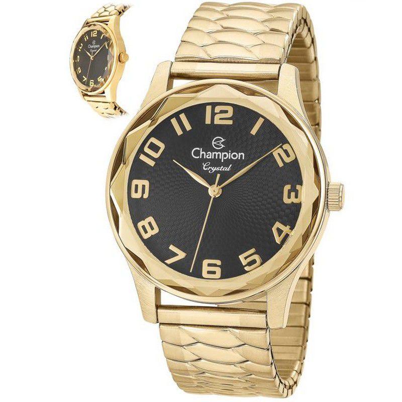 Relógio Champion Feminino Dourado Analógico Crystal CN27885U