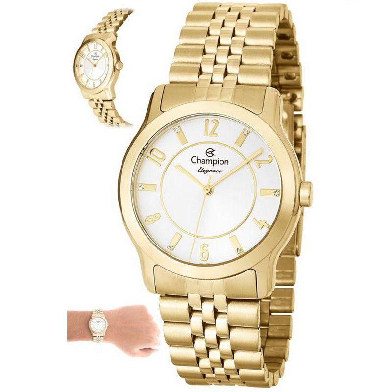 Relógio Champion Feminino Dourado Analógico Elegance CN25074H
