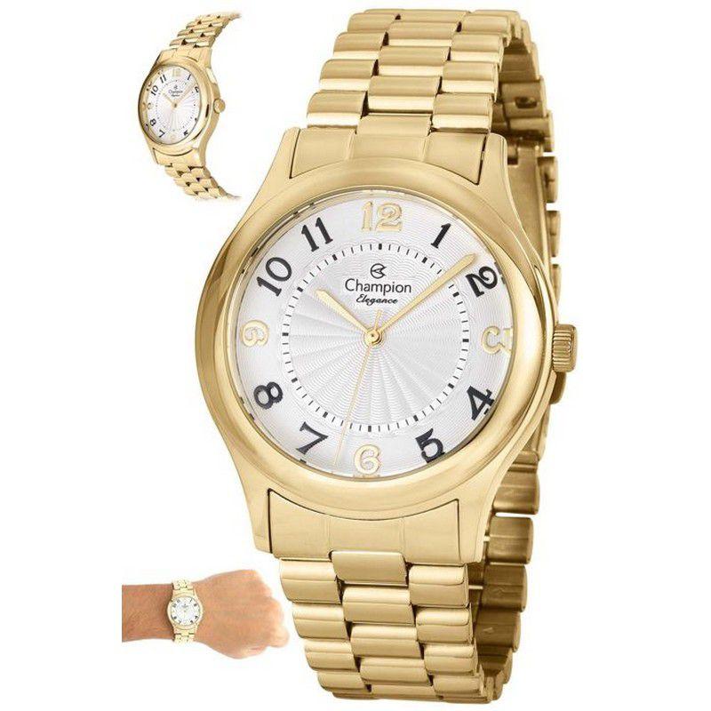 Relógio Champion Feminino Dourado Analógico Elegance CN25083H
