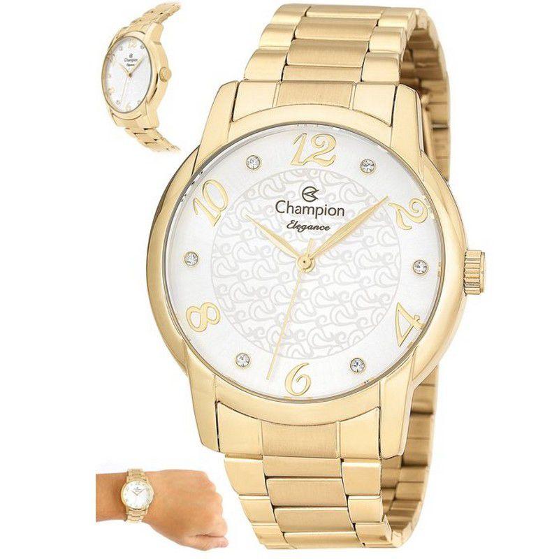 Relógio Champion Feminino Dourado Analógico Elegance CN26224H