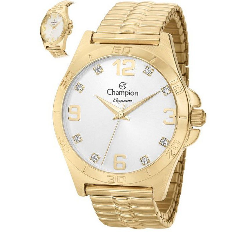 Relógio Champion Feminino Dourado Analógico Elegance CN27812H