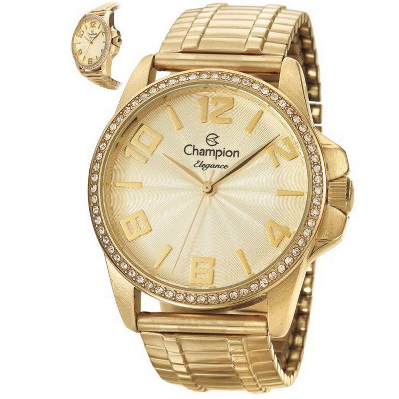 Relógio Champion Feminino Dourado Analógico Elegance CN27821G
