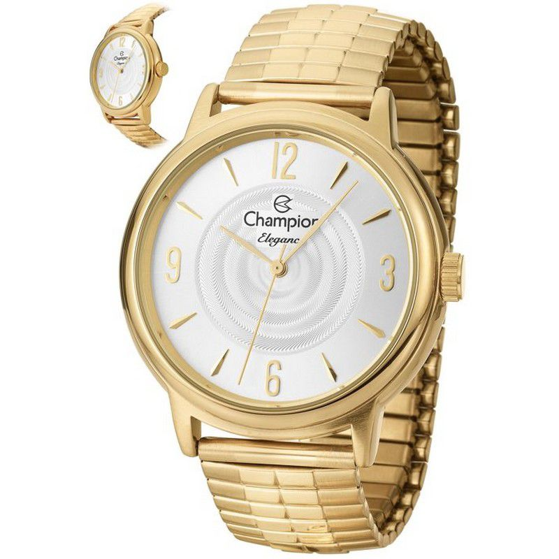 Relógio Champion Feminino Dourado Analógico Elegance CN27867H