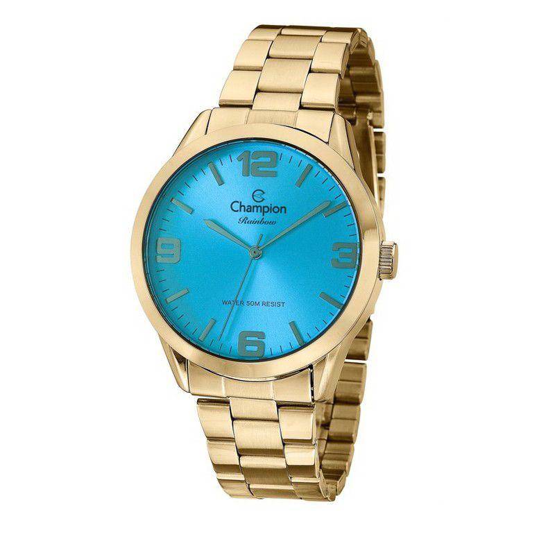 Relógio Champion Feminino Dourado Analógico Rainbow CN29892A
