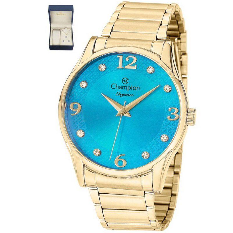 Relógio Champion Feminino Dourado Kit Semi Joia Analógico Elegance CN26215Y