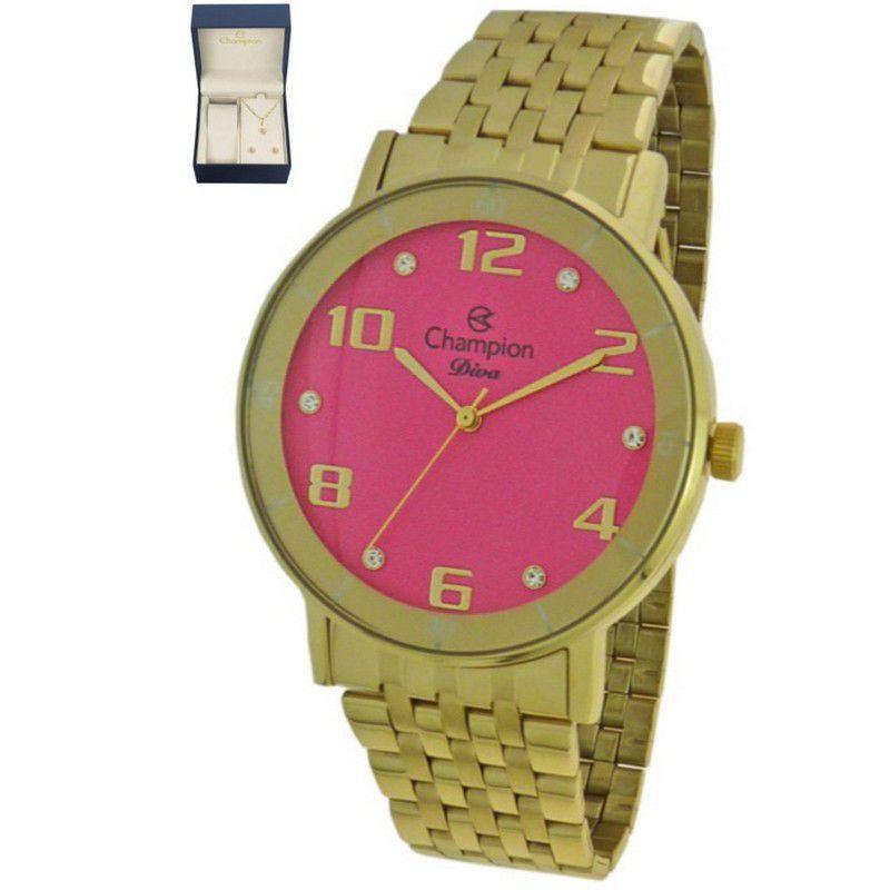 Relógio Champion Feminino Dourado Kit Semi Joia Diva Analógico CN26671J