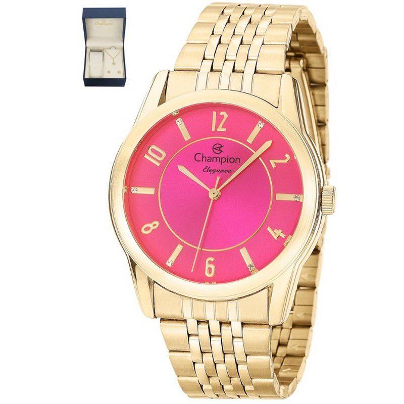 Relógio Champion Feminino Dourado Kit Semi Joia Elegance Analógico CN26233J