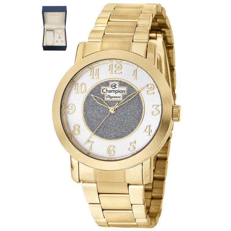Relógio Champion Feminino Dourado Kit Semi Joia Elegance Analógico CN26466W