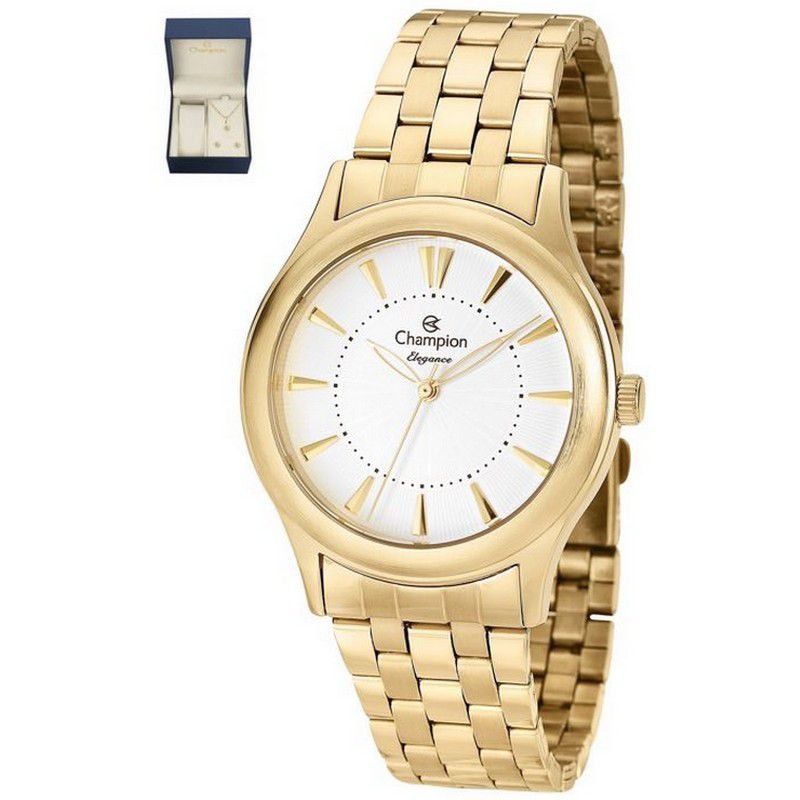 Relógio Champion Feminino Dourado Kit Semi Joia Elegance Analógico CN26475W