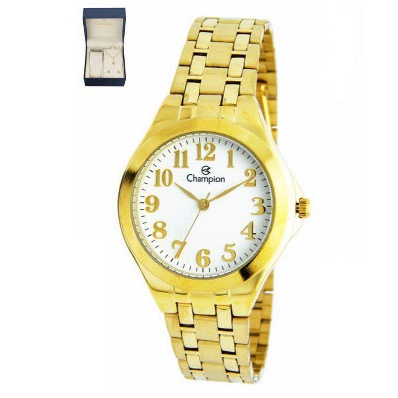 Relógio Champion Feminino Dourado Kit Semi Joia Metal Analógico CH22877W
