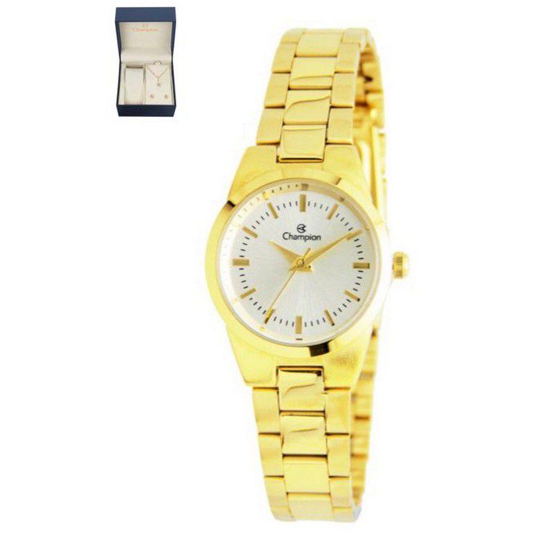 Relógio Champion Feminino Dourado Kit Semi Joia Metal Analógico CH24517C