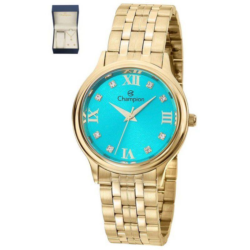Relógio Champion Feminino Dourado Kit Semi Joia Metal Analógico CN25494Y