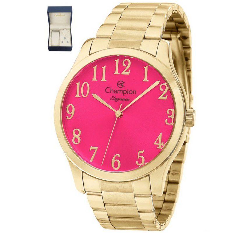 Relógio Champion Feminino Elegance Dourado Kit Semi Joial Analógico CN26019J