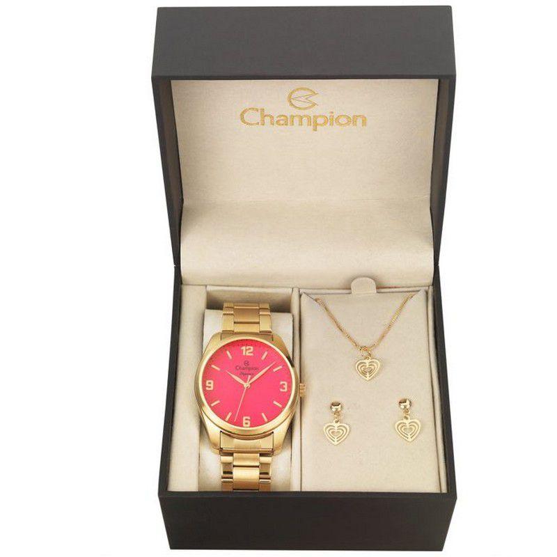 Relógio Champion Feminino Dourado Kit Semi Joia Metal Analógico CN26046J