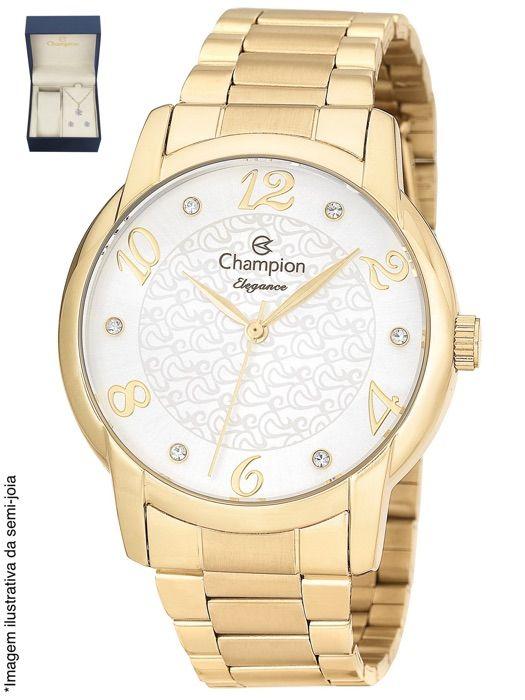 Relógio Champion Feminino Dourado Kit Semi Joia Metal Analógico Elegance CN26224W