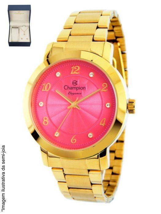 Relógio Champion Feminino Dourado Kit Semi Joia Metal Analógico CN26573J