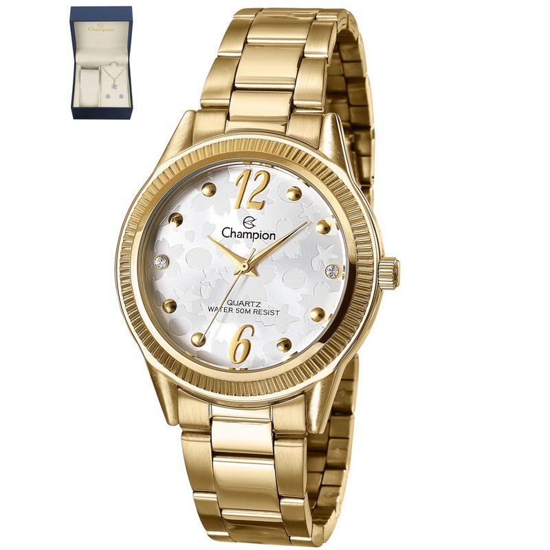 Relógio Champion Feminino Dourado Kit Semi Joia Metal Analógico CN29570W