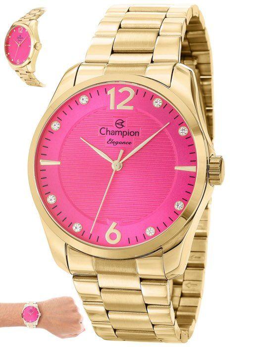 Relógio Champion Feminino Dourado Kit Semi Joia Metal Analógico Elegance CN27607J