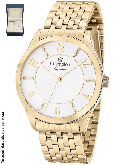 Relógio Champion Feminino Dourado Kit Semi Joia Metal Analógico Elegance CN27698W