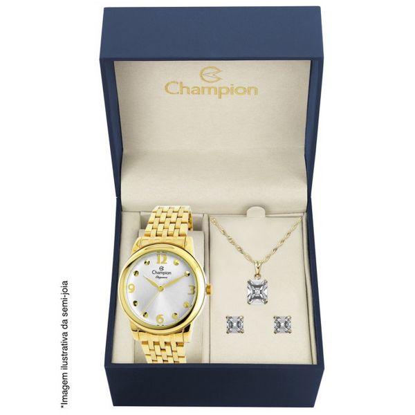 Relógio Champion Feminino Dourado Kit Semi Joia Metal Elegance Analógico CN26813W