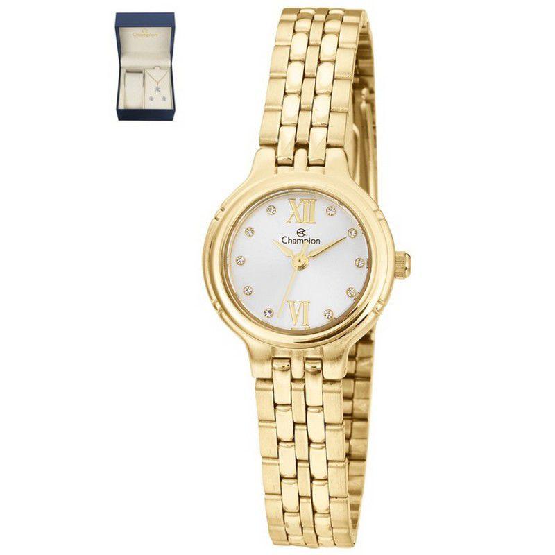 Relógio Champion Feminino Kit Semi Jóia Aço Dourado Analógico CN28393D