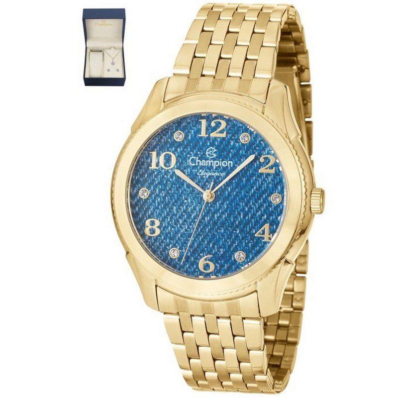 Relógio Champion Feminino Kit Semi Jóia Dourado Analógico Elegance CN26984K