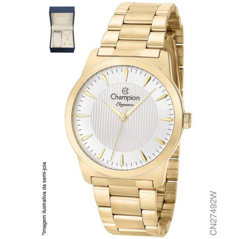 Relógio Champion Feminino Kit Semi Jóia Dourado Analógico Elegance CN27492W