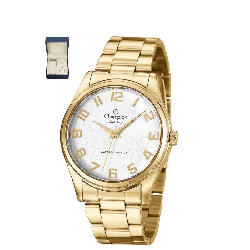 Relógio Champion Feminino Kit Semi Jóia Dourado Analógico Rainbow CN29883J