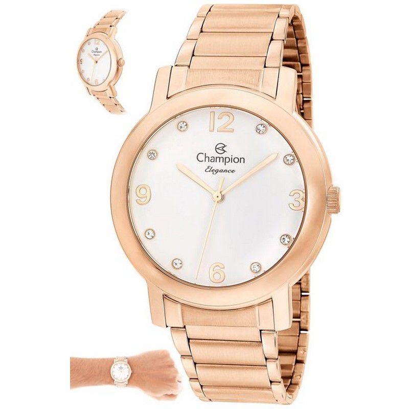 Relógio Champion Feminino Rosê Analógico Elegance CN25654Z