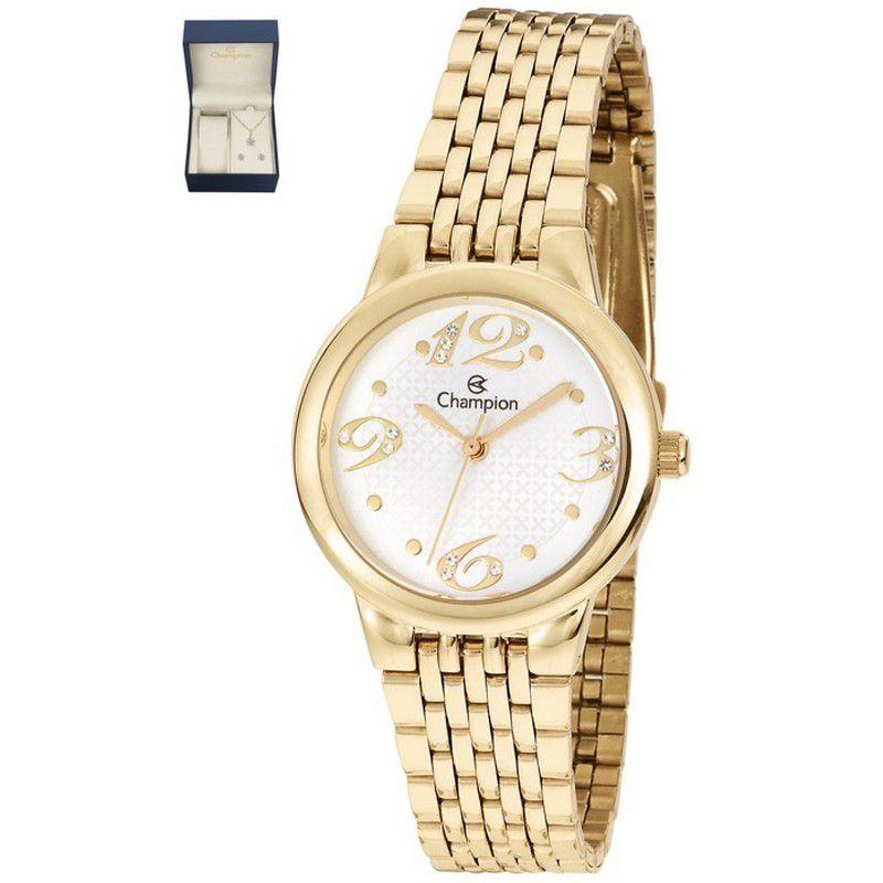 Relógio Champion Feminino Semi Jóia Aço Dourado Analógico CH24919W