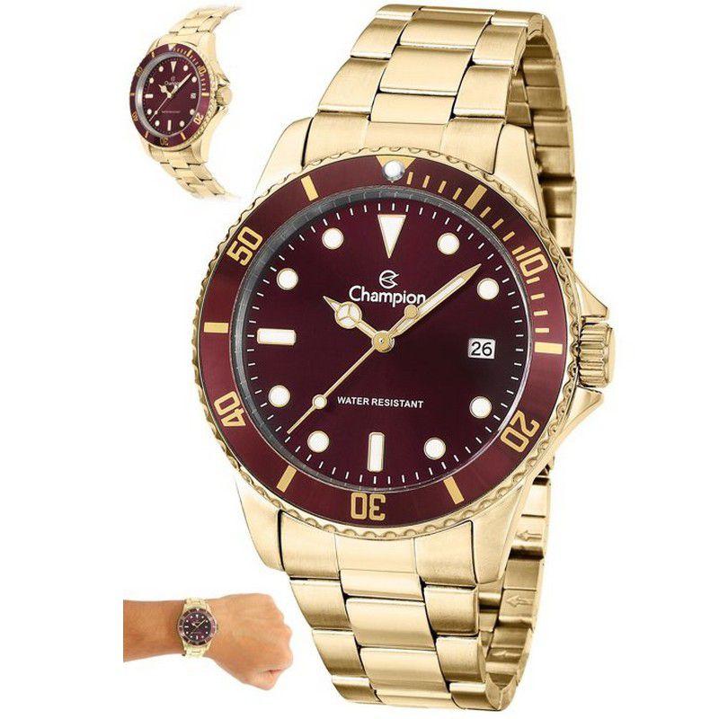 Relógio Champion Masculino Dourado Aço Analógico CA31266R
