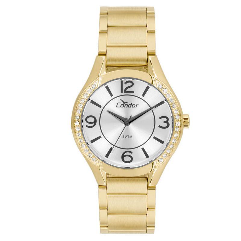 Relógio Condor Feminino Dourado Aço Inox Analógico Kit Semi Joia CO2035KRG/K4K