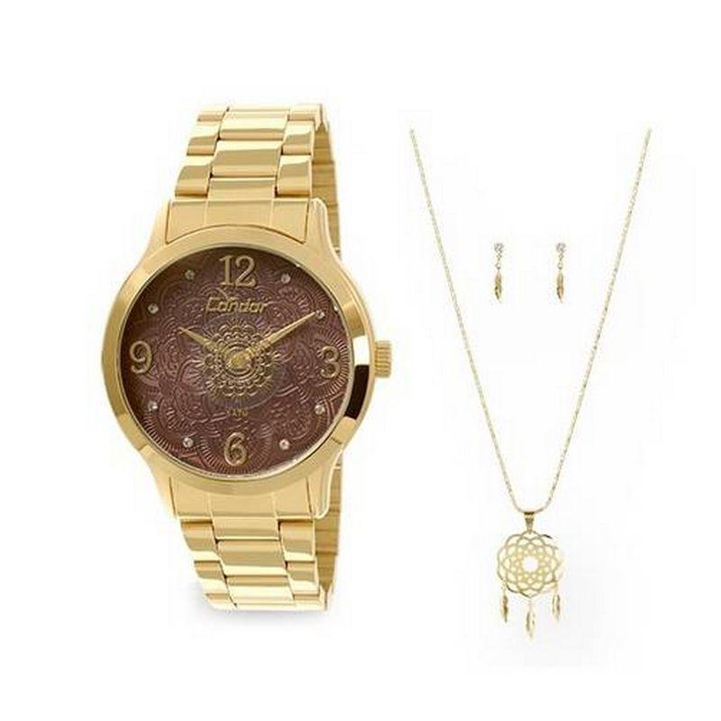 Relógio Condor Feminino Dourado Kit Semi Joia Analógico CO2036CK/K4M