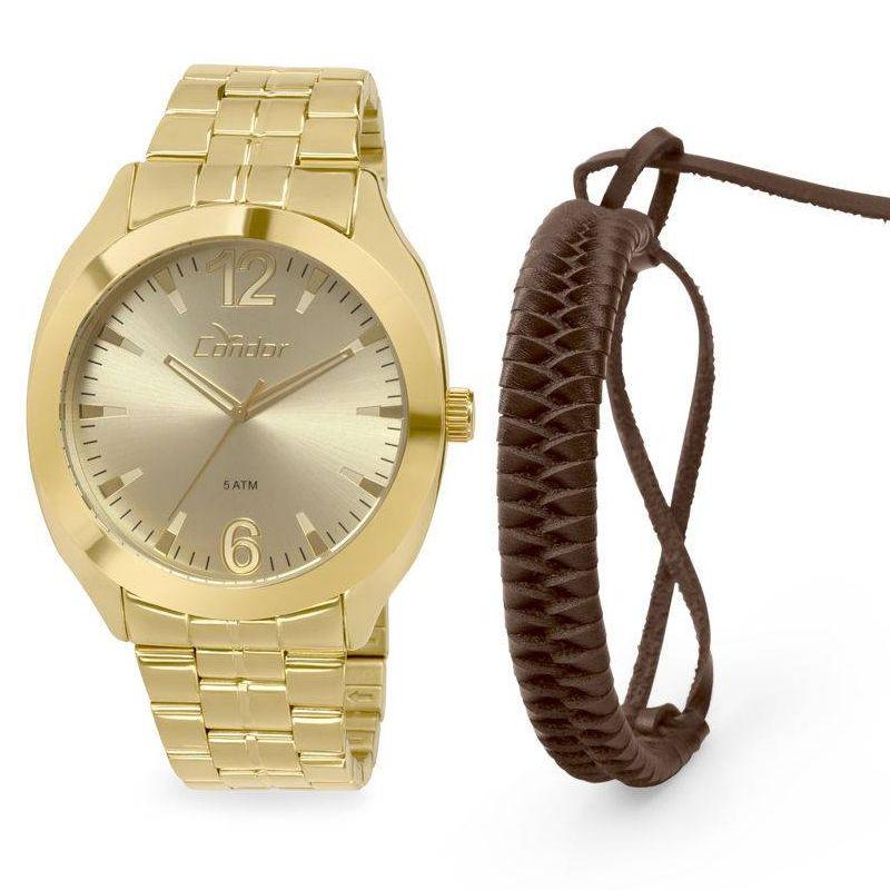 Relógio Condor Masculino Aço Inox Dourado Analógico Kit Pulseira CO2035KQP/K4X