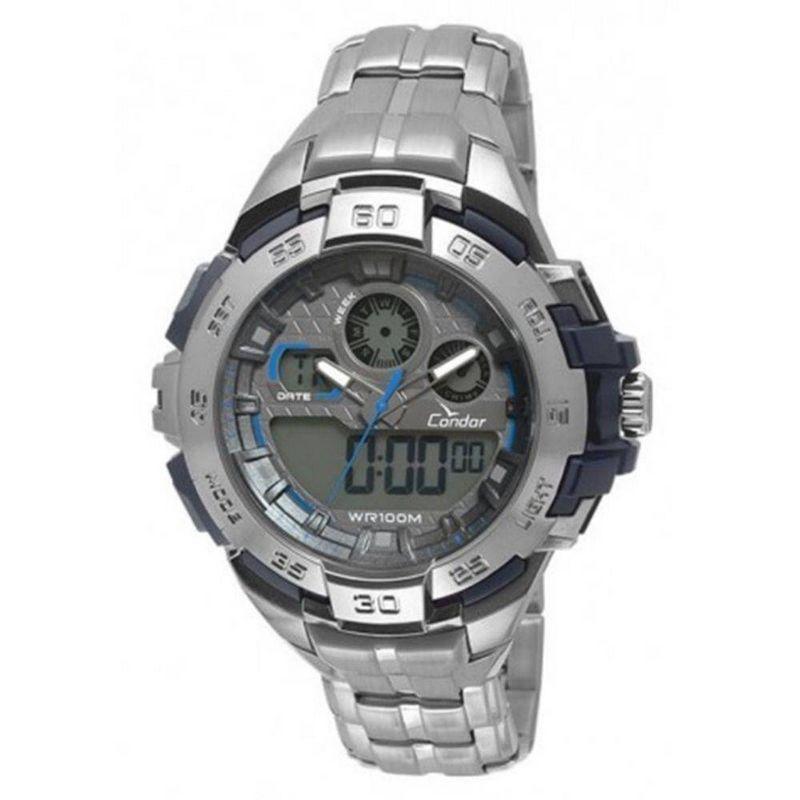 Relógio Condor Masculino Aço Inoxidável Cronógrafo Anadigi CO1154BR/3A